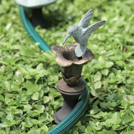 - 33148 Hummingbird Hose Guard, Hummingbird Feeds Over a Flower While Keeping Flower Beds Safe By SPI Home