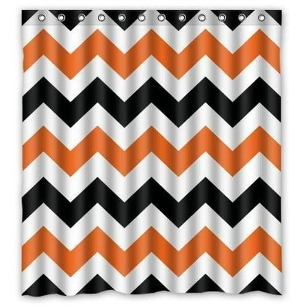 HelloDecor Halloween Black Orange Chevrons Shower Curtain Polyester Fabric Bathroom Decorative Curtain Size 66x72 Inches](Halloween 5 Shower)