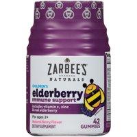 Zarbee's Naturals Children's Elderberry Immune Support, Vitamin C & Zinc, Berry, 42 Gummies