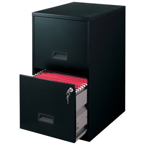 2-Drawer Steel File Cabinet with Lock, Black