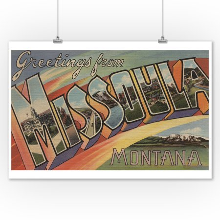 Greetings from Missoula, Montana (9x12 Art Print, Wall Decor Travel Poster) Missoula 1 Light
