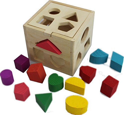 UNIH Babys First Blocks Shape Sorter Toy ABC and Shape Pieces Toddler Developmental Sorting Shape Game with Storage Box