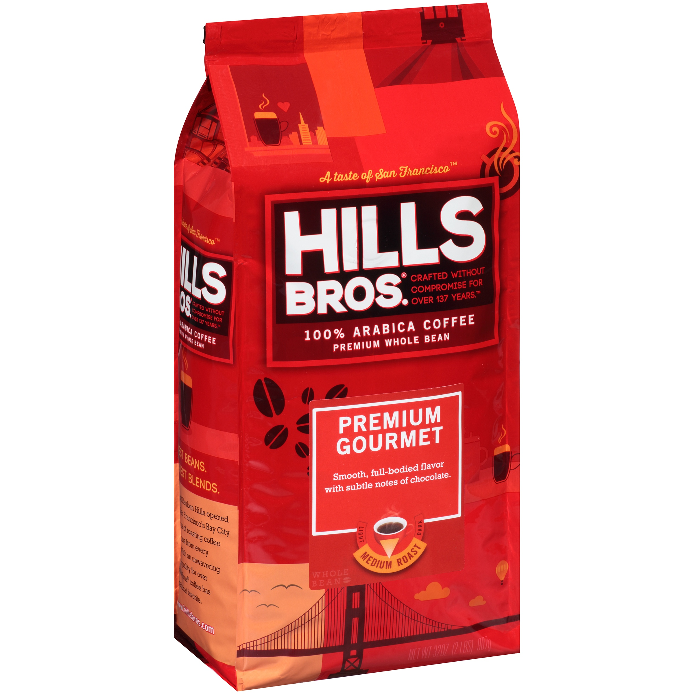 Hills Bros. Premium Gourmet Medium Roast Whole Bean 100% Arabica Coffee, 32 oz