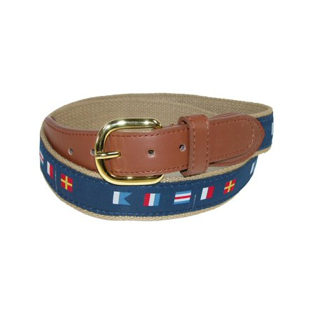 Usa Flag Belt (Men's Woven Fabric Belt with Nautical Signal Flags Ribbon Overlay,  Navy )