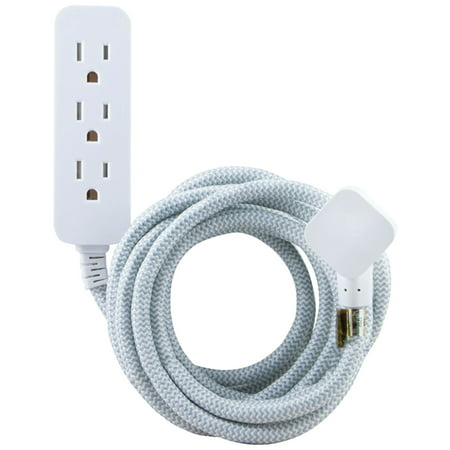 Cordinate 10' Outlet Extension Cord Gray/White