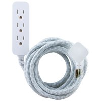 Cordinate Decor 10ft. 3-Outlet Extension Cord, Gray/White, 37592