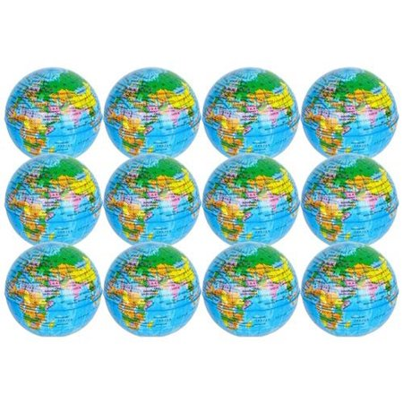 World Map Stress Squeeze Ball, 12 Globe Earth Stress ball - Novelty Toys, Party Favor, Bag Stuffer, Giveaway, Gifts - By Kidsco (World Stress Ball)