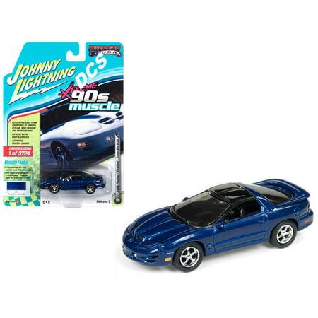 JOHNNY LIGHTNING 1:64 MUSCLE CARS U.S.A. RELEASE 3 VERSION A - XTREME '90S MUSCLE - 1999 PONTIAC FIREBIRD TRANS AM WS6 (NAVY BLUE METALLIC) JLSP028-24A