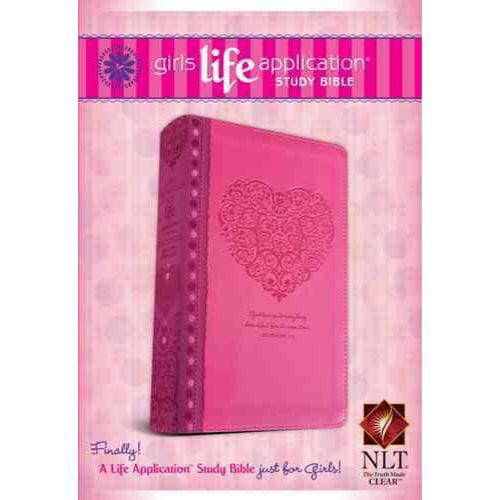 Girls Life Application Study Bible: New Living Translation Pink Heart LeatherLike