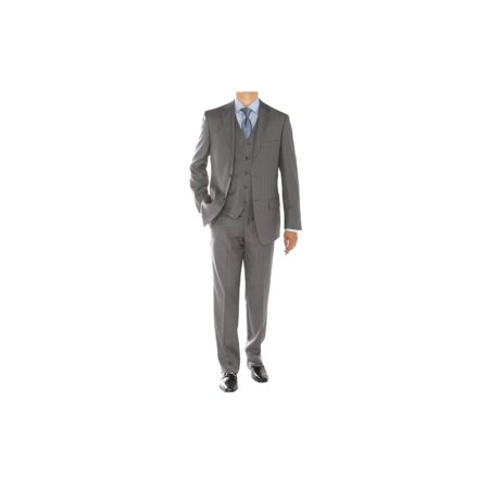 - Gino Valentino 3 Piece Men's 2 Button Jacket Flat Front Pants Vested Suit