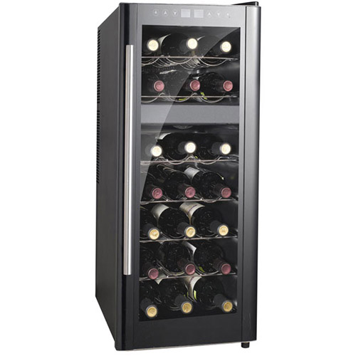 Sunpentown 21-Bottle Dual-Zone ThermoElectric Wine Cooler with Heating, Black