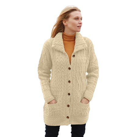 Buttoned Irish Funnel Neck Wool Cardigan