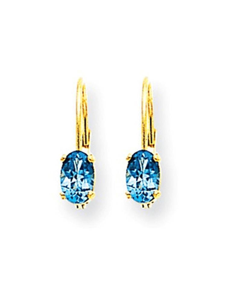 14K Yellow Gold Oval Prong Set Blue Topaz Dangle Earrings by gemaffair
