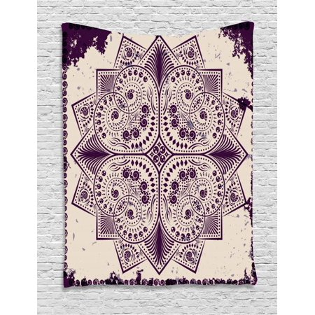 Purple Mandala Tapestry, Snowflake Form Inspired Geometric Design on Grungy Background, Wall Hanging for Bedroom Living Room Dorm Decor, 40W X 60L Inches, Dark Purple and Eggshell, by Ambesonne