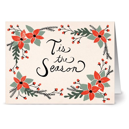 24 Holiday Note Cards - Seasons Greetings - Blank Cards - Red Envelopes Included