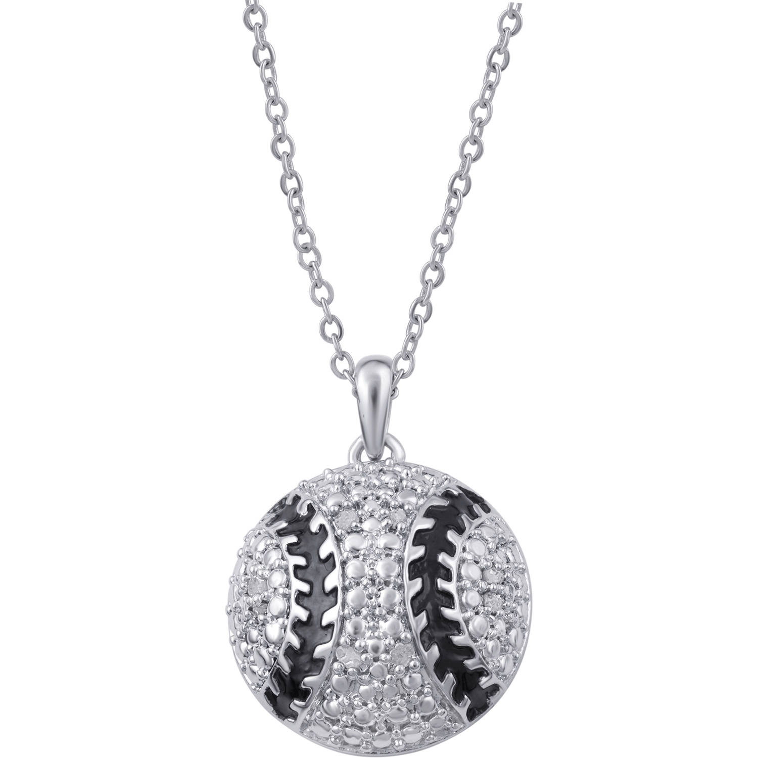 silver products necklace tinksjewelry baseball pendant sports girlfriend