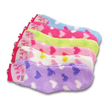 Women's Fuzzy Crew Soft Socks Winter Warm Dots Stripes Solid Color 6 or 12 Pairs (Hearts, 6 Pairs) (Stripes Hand Painted 3 Top)