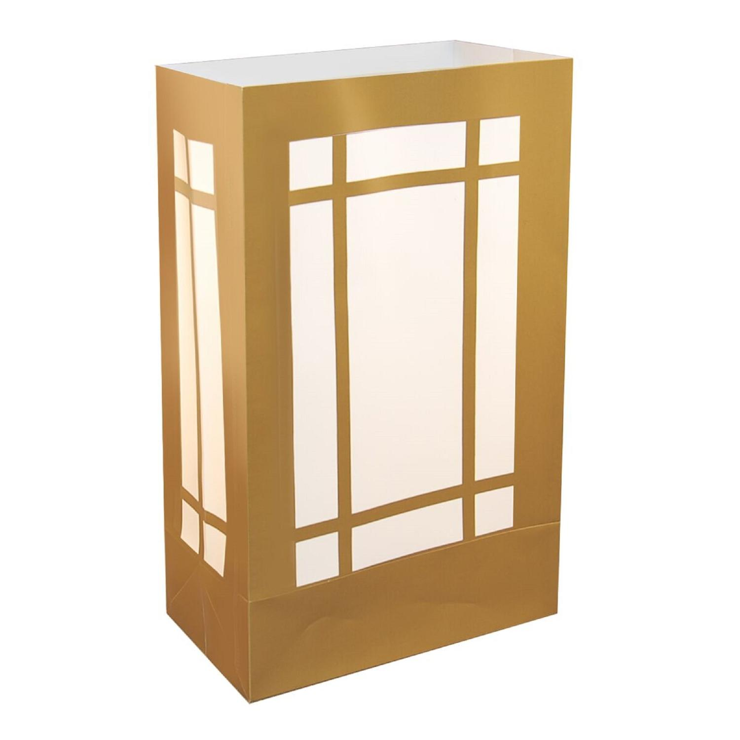 """Pack of 12 Traditional Weather Resistant Festive Gold Lantern Luminaria Bags 10"""""""