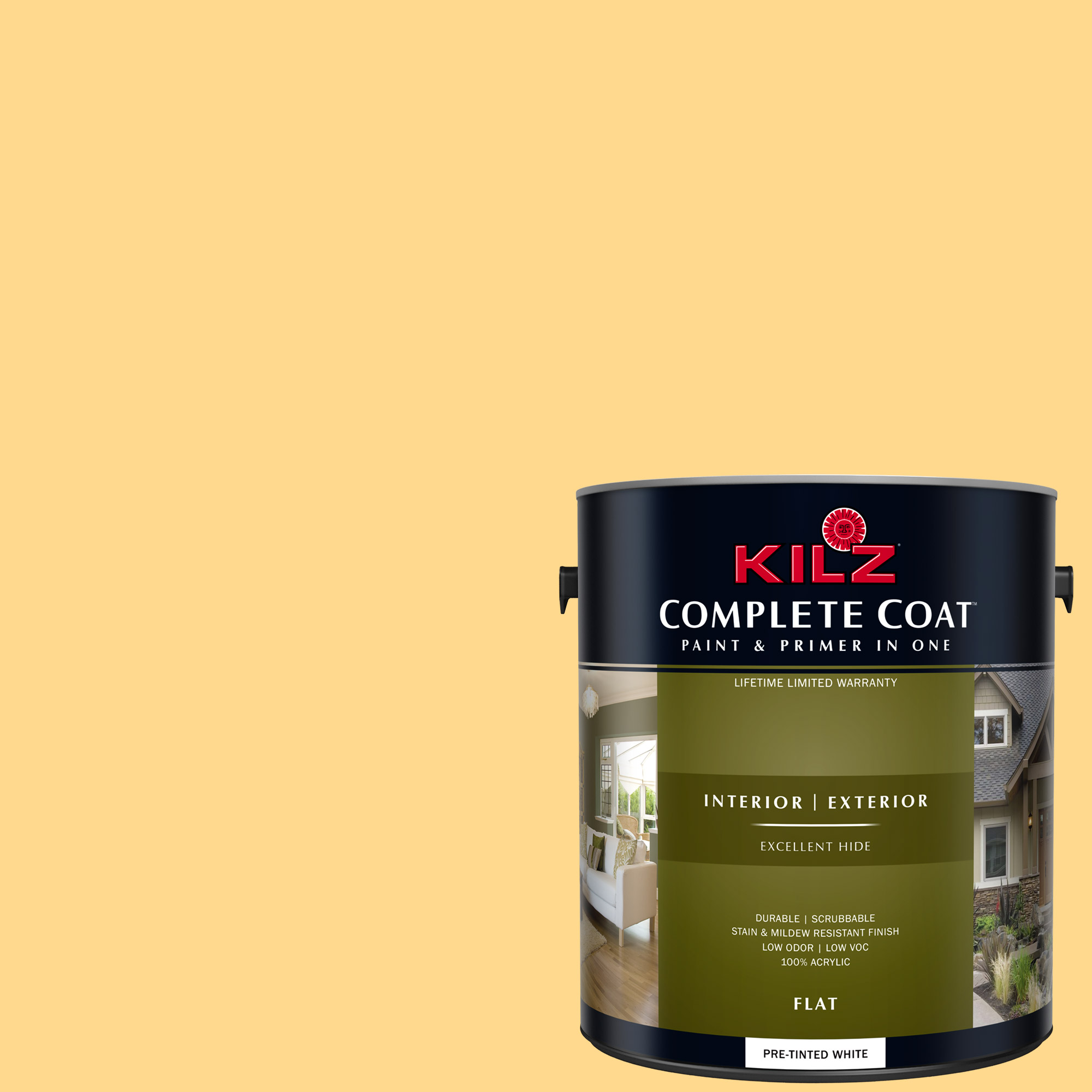 KILZ COMPLETE COAT Interior/Exterior Paint & Primer in One #LE150-01 Yellow Duckling
