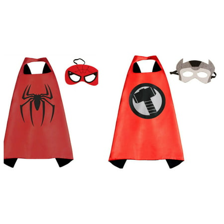 Thor & Spiderman Costumes - 2 Capes, 2 Masks with Gift Box by Superheroes](Spider Cape)