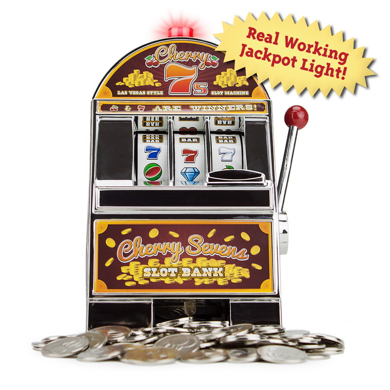 Cherry Sevens Slot Machine Bank with 10 Free Tokens Multi-Colored