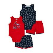 Garanimals Baby Boy Tank Bodysuits and Shorts Outfit Set, 4-Piece