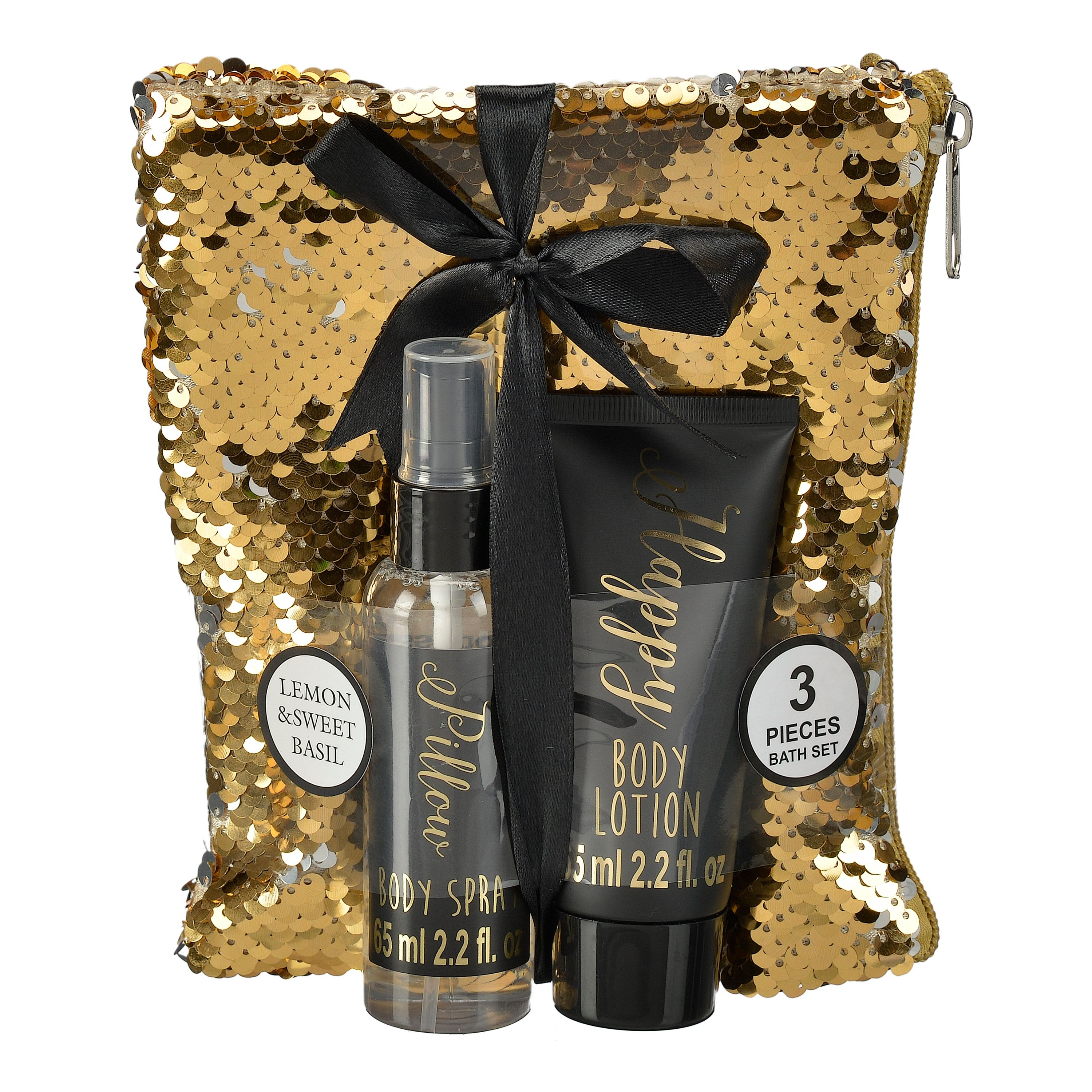 Lemon and Sweet Basil Body Lotion Gift Set with Sequin Bag, 3 Pieces