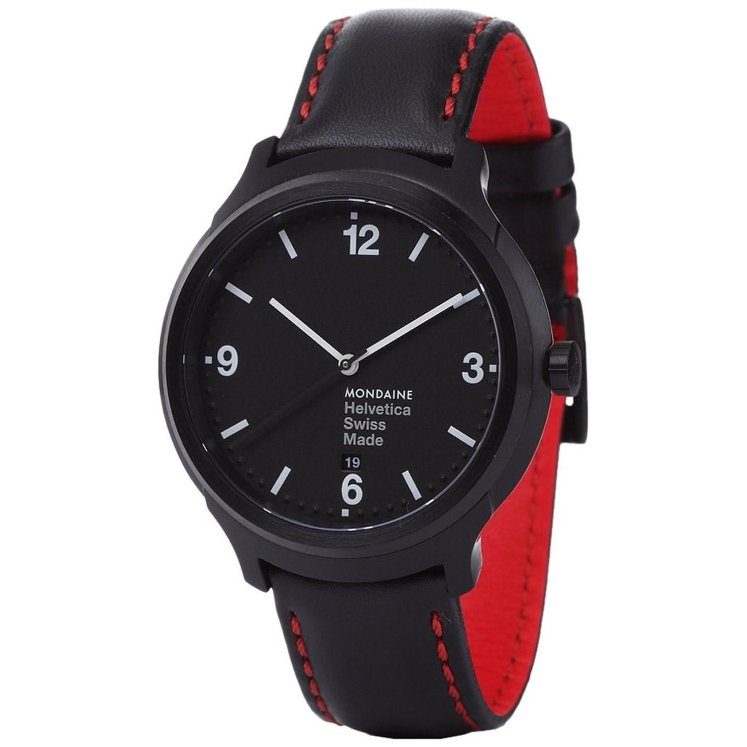 28027f2457690 Mondaine - Mondaine Men s MH1B1221LB  Helvetica No. 1 Bold  Black Leather  Watch - Walmart.com