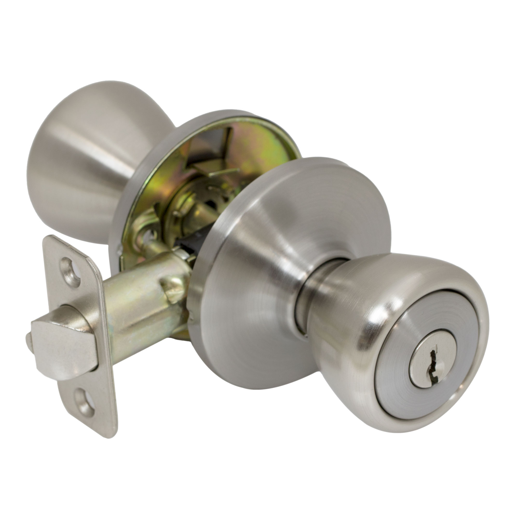 Pro Grade Classic Round Keyed Entry Door Knob Handle Lockset, Satin Nickel    Walmart.com