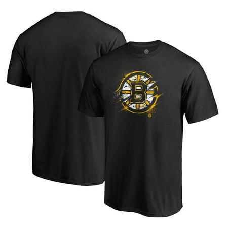 Boston Bruins Goalie - Boston Bruins Fanatics Branded Splatter Logo T-Shirt - Black