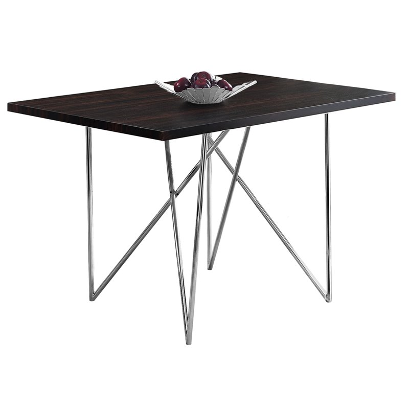 Monarch Dining Table in Cappuccino and Chrome