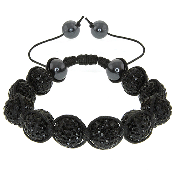15mm Shiny Black Crystal Micro Pave and 12mm Black Ball Adjustable Bracelet