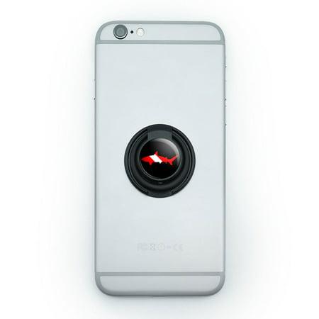 Shark Scuba Symbol on Black - Diver Dive Mobile Phone Ring Holder Stand - Shark Rings
