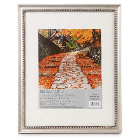 Bead Frame Silver 11 X 14 Inches Holds 8 X 10 Inch Photo