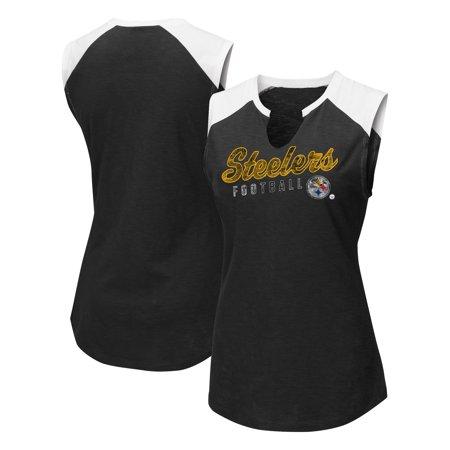 Pittsburgh Steelers Majestic Women's V-Notch Muscle Tank Top - Black/White - Steeler Stuff