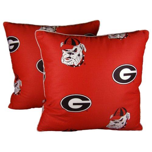 College Covers NCAA Georgia Cotton Throw Pillow (Set of 2)