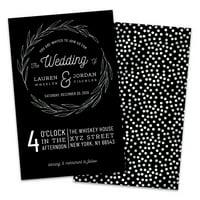 Personalized Silver Laurel Wedding Invitations