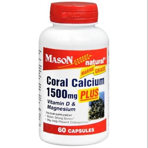 Mason Natural Coral Calcium 1500 mg Capsules 60 ea (Pack of 3)