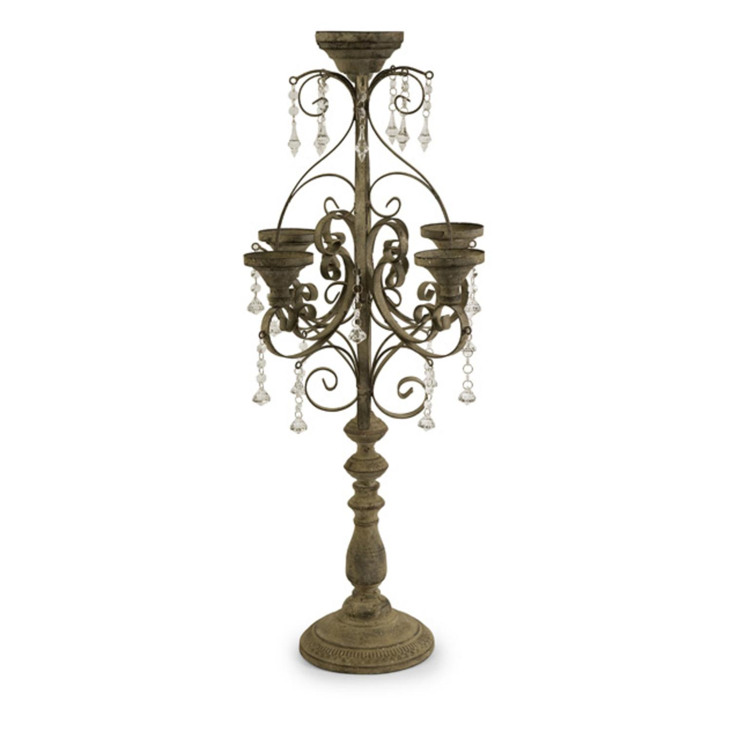 """34"""" Dramatic Pillar Candle Holder Candelabra with Dangling Gemstone Accents"""