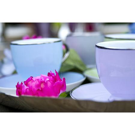 Canvas Print Cup Tea Coffee Table Restaurant Color Porcelain Stretched Canvas 10 x 14