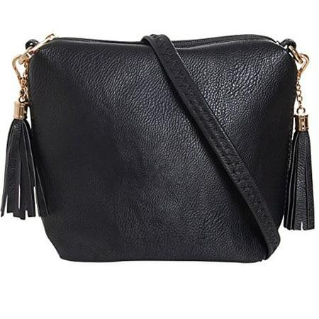 Mini Tassel Cross Body Bag - Small Vegan Leather Zipper Crossbody Handbag Shoulder Purse, Black  - Side Zip, Jet Black, Gold-Tone, by Humble Chic NY