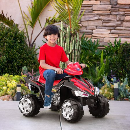 Best Choice Products 12V Kids Battery Powered Electric 4-Wheeler Quad ATV Ride-On Toy w/ 2 Speeds, Horn, Engine Sounds, Music, LED Lights - Red