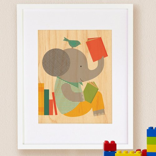 Petit Collage Read Elephant, Small Framed Art
