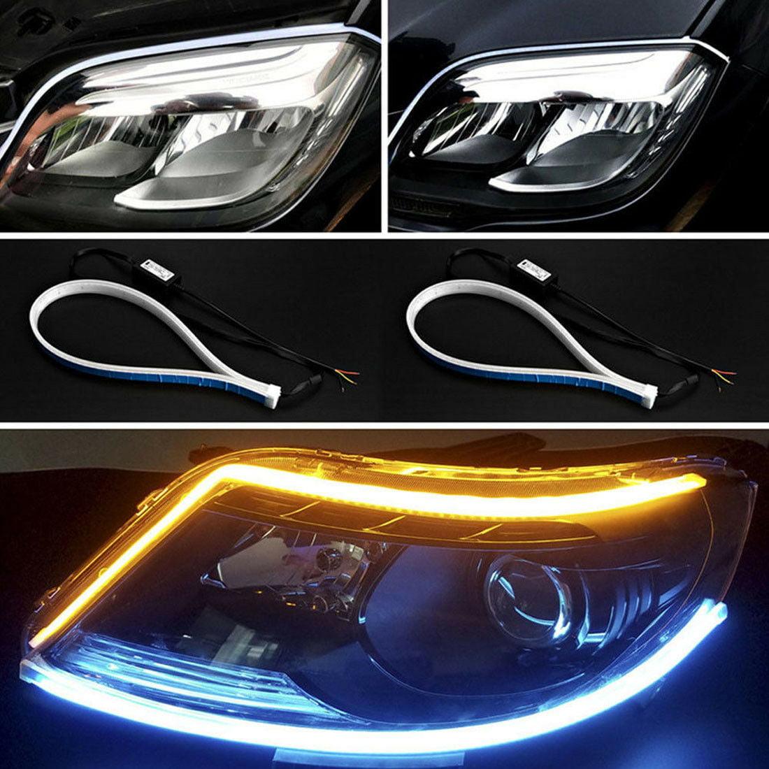 60cm Ultra Thin LED Car Soft Tube Strip Daytime Running Light Turn Signal Lamp