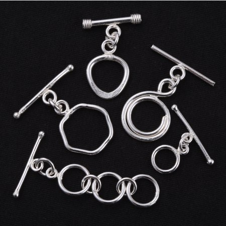 DIY Jewelry Making Tools Silvertone Set of 5 Toggle Clasps - Clasps For Jewelry Making