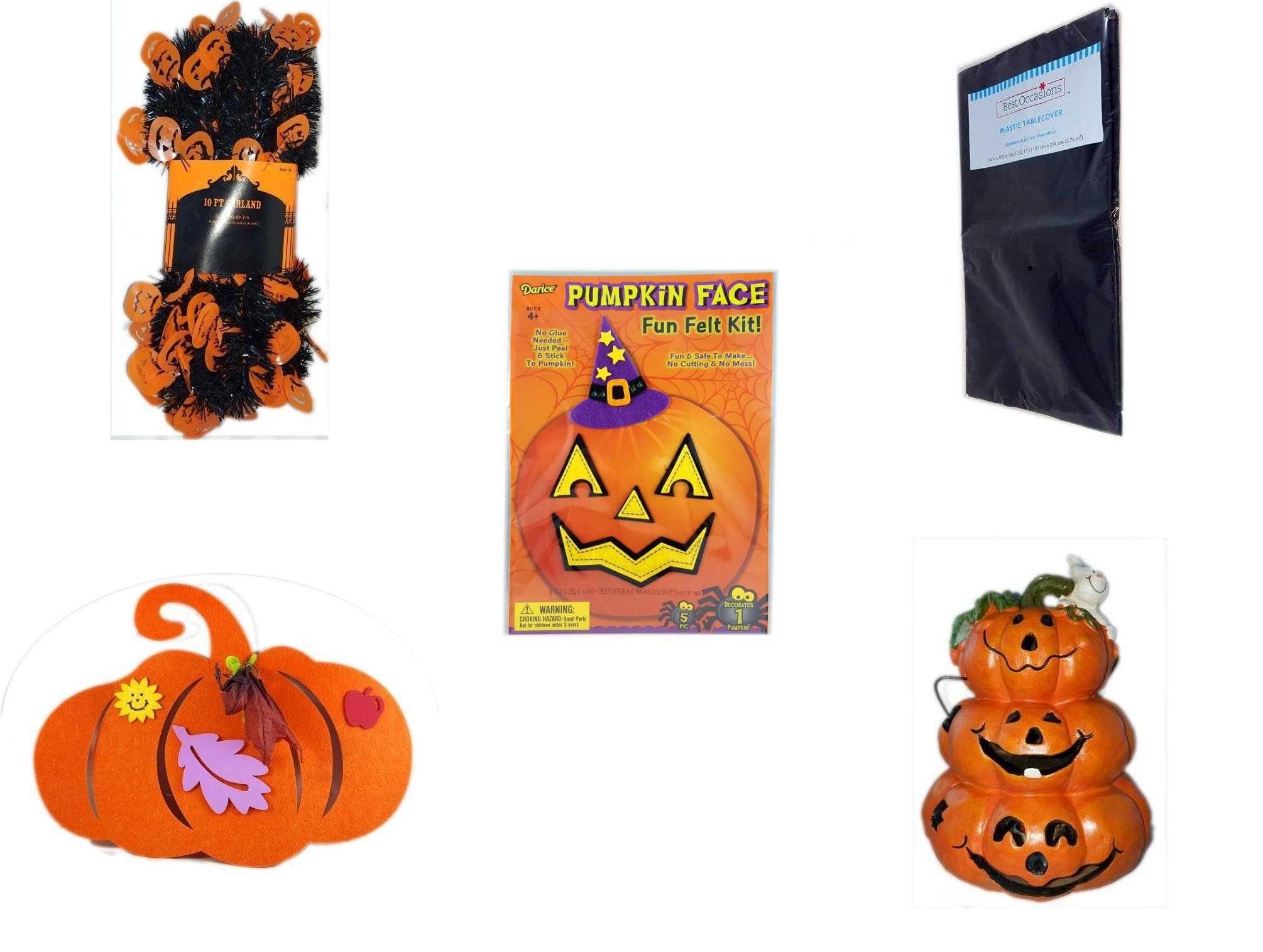 Halloween Fun Gift Bundle 5 Piece Black Orange Pumpkin Garland 10 Ft Black Plastic Table Cover Darice Pumpkin Face Fun Felt Kit Witch Felt Pumpkin Decoration