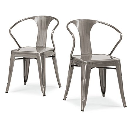 ModHaus Set of 4 Gunmetal Chairs in Glossy Powder Coated Finish Steel Stackable Dining Includes ModHaus Living (TM) Pen
