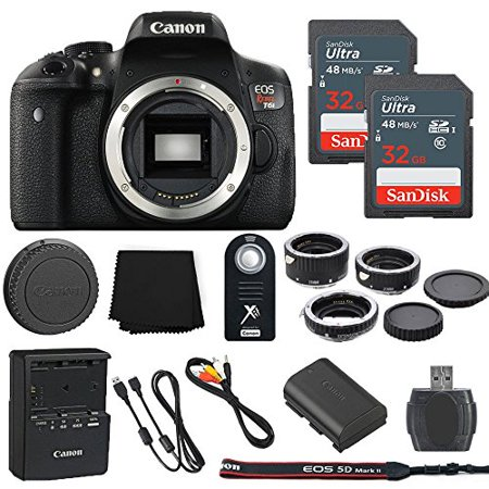 Canon EOS Rebel T6i 24.2MP Digital SLR Camera Body Only + 2 32GB Sandisk Ultra SD Cards + Macro Extension Tubes + Wireless Shutter Remote + Memory Card Reader + Cleaning Cloth - International Model