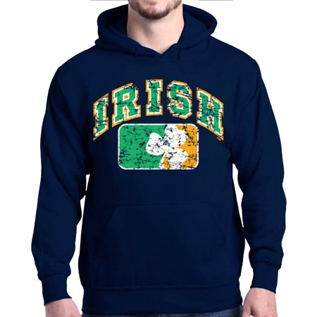 Shop4Ever Men's Distressed Irish Flag St. Patrick's Day Hooded Sweatshirt Hoodie