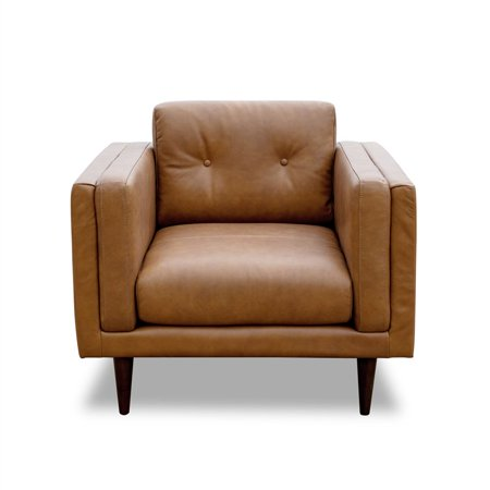 Mid-Century Modern West Cognac Tan/Brown Vintage Italian Leather Accent Chair Brown Italian Handcrafted Leather